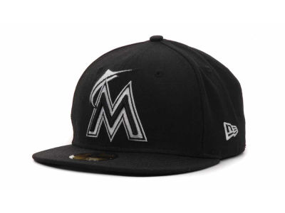 Miami Marlins MLB Black and White Fashion 59FIFTY Hats