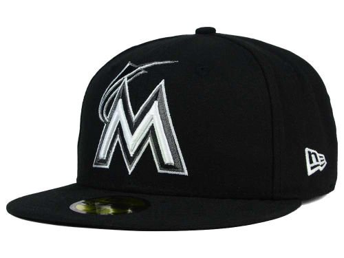 Miami Marlins New Era MLB Black and White Fashion 59FIFTY Cap Hats