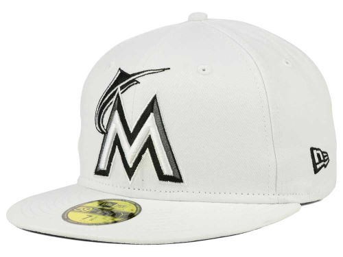 Miami Marlins New Era MLB White And Black 59FIFTY Cap Hats