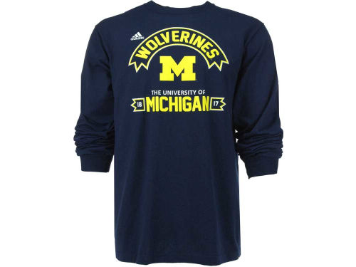 Michigan Wolverines adidas NCAA Athletic Front Long Sleeve T-Shirt