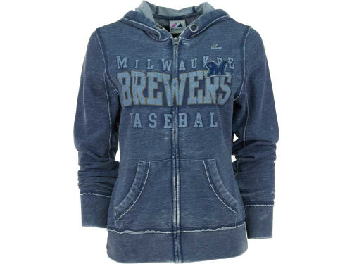 Milwaukee Brewers Majestic MLB Womens Classic Pride Full Zip Hooded Fleece