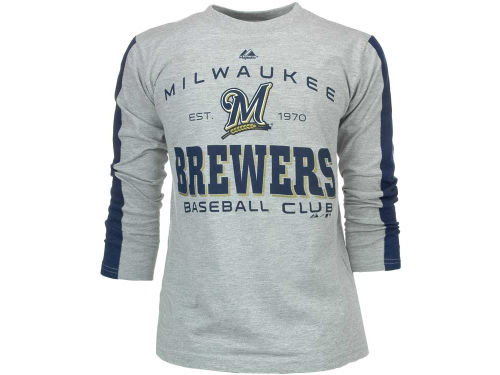 Milwaukee Brewers Majestic MLB Youth Roll Out Fashion Long Sleeve T-Shirt