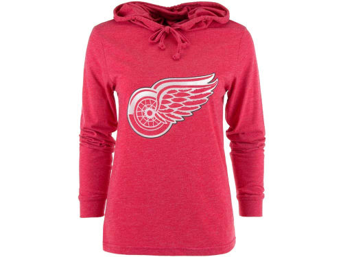 Detroit Red Wings College Concepts NHL Womens Centennial Long Sleeve Hooded T-Shirt