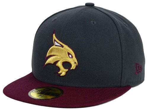 Texas State Bobcats New Era NCAA 2 Tone Graphite and Team Color 59FIFTY Cap Hats