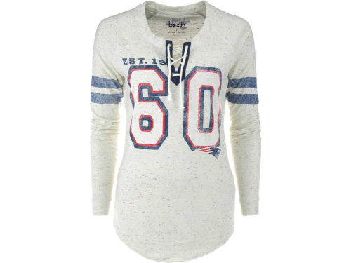 New England Patriots GIII NFL Womens Kickoff Lace-Up T-Shirt