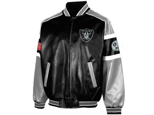 Oakland Raiders GIII NFL Post Game Pleather Jacket