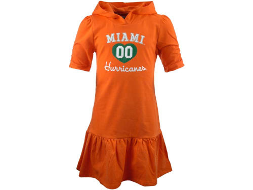 Miami Hurricanes NCAA Girls Drop Waist Hooded Dress