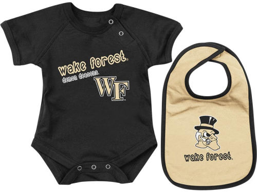 Wake Forest Demon Deacons Colosseum NCAA Newborn Dribble Creeper Bib Set