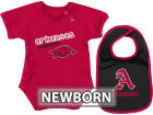 Arkansas Razorbacks Colosseum NCAA Newborn Dribble Creeper Bib Set Infant Apparel