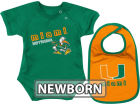 Miami Hurricanes Colosseum NCAA Newborn Dribble Creeper Bib Set Infant Apparel