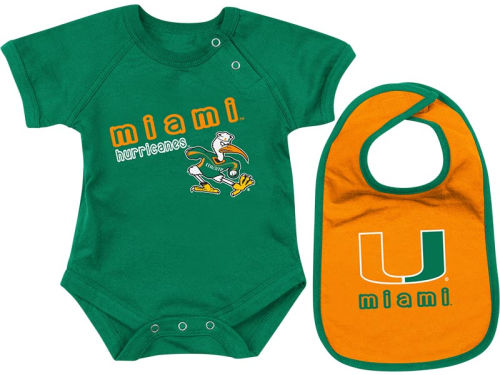 Miami Hurricanes Colosseum NCAA Newborn Dribble Creeper Bib Set