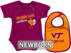 Virginia Tech Hokies Colosseum NCAA Newborn Dribble Creeper Bib Set Infant Apparel
