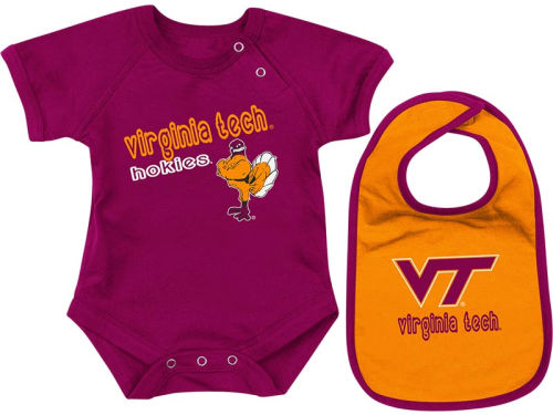 Virginia Tech Hokies Colosseum NCAA Newborn Dribble Creeper Bib Set
