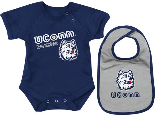 Connecticut Huskies Colosseum NCAA Newborn Dribble Creeper Bib Set
