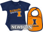 Illinois Fighting Illini Colosseum NCAA Newborn Dribble Creeper Bib Set Infant Apparel