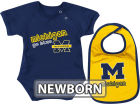 Michigan Wolverines Colosseum NCAA Newborn Dribble Creeper Bib Set Infant Apparel