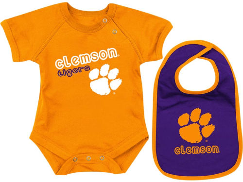 Clemson Tigers Colosseum NCAA Newborn Dribble Creeper Bib Set