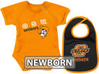 Oklahoma State Cowboys Colosseum NCAA Newborn Dribble Creeper Bib Set Infant Apparel