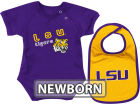 LSU Tigers Colosseum NCAA Newborn Dribble Creeper Bib Set Infant Apparel