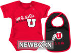 Utah Utes Colosseum NCAA Newborn Dribble Creeper Bib Set Infant Apparel