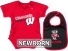 Wisconsin Badgers Colosseum NCAA Newborn Dribble Creeper Bib Set Infant Apparel