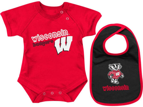Wisconsin Badgers Colosseum NCAA Newborn Dribble Creeper Bib Set