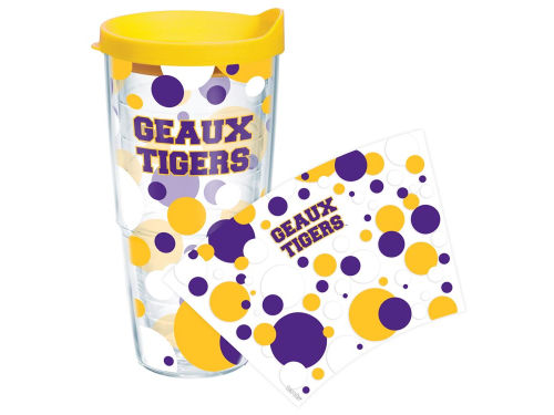 LSU Tigers Tervis Tumbler NCAA 24oz. Polka Dot Tumbler With Lid