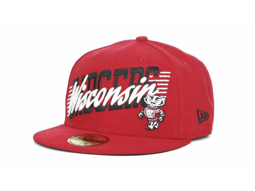 Wisconsin Badgers New Era NCAA Writers Block 59FIFTY Hats