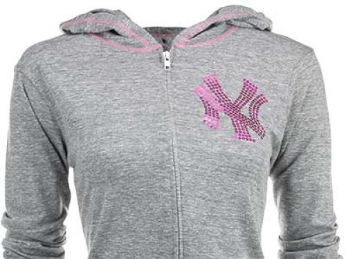 New York Yankees MLB Womens Sequin Full Zip Hoodie