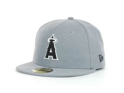 Los Angeles Angels of Anaheim MLB Youth Gray Black and White 59FIFTY Hats
