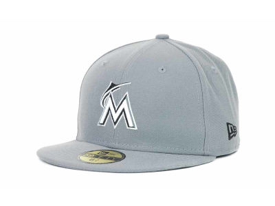 Miami Marlins MLB Youth Gray Black and White 59FIFTY Hats