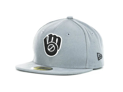 Milwaukee Brewers MLB Youth Gray Black and White 59FIFTY Hats