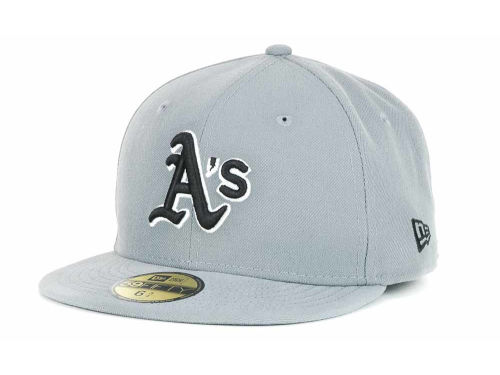 Oakland Athletics New Era MLB Youth Gray Black and White 59FIFTY Hats