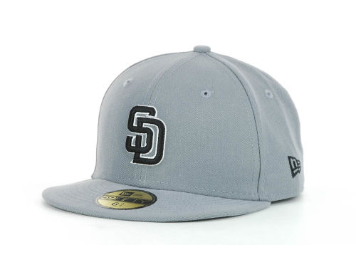San Diego Padres New Era MLB Youth Gray Black and White 59FIFTY Hats