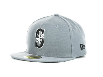 Seattle Mariners MLB Youth Gray Black and White 59FIFTY Hats