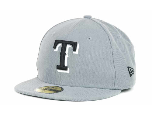 Texas Rangers New Era MLB Youth Gray Black and White 59FIFTY Hats