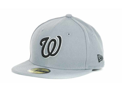 Washington Nationals MLB Youth Gray Black and White 59FIFTY Hats