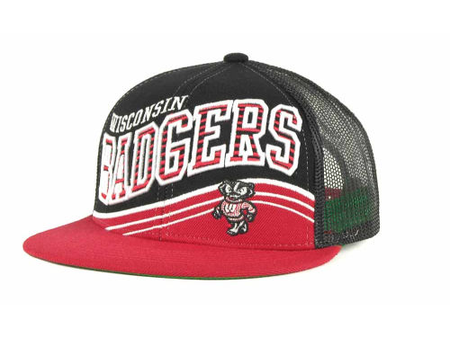 Wisconsin Badgers Top of the World NCAA Electric Slide Mesh Back Snapback Cap Hats