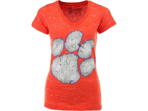 Clemson Tigers NCAA Womens Antique Vneck Tri-Burnout T-Shirt