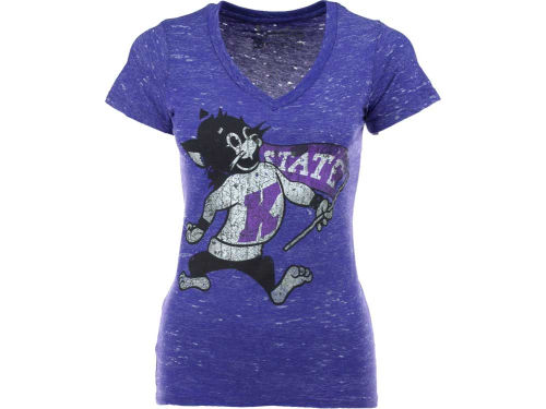 Kansas State Wildcats NCAA Womens Antique Vneck Tri-Burnout T-Shirt