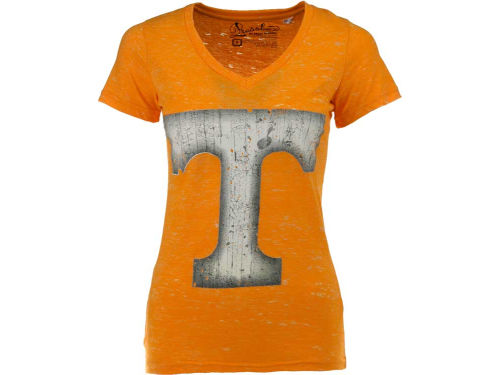 Tennessee Volunteers NCAA Womens Antique Vneck Tri-Burnout T-Shirt