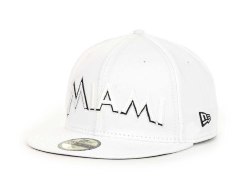 Miami Marlins New Era MLB White And Black 59FIFTY Hats
