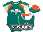 Miami Dolphins Outerstuff NFL Newborn Creeper, Bib, Bootie Set Infant Apparel