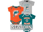 Miami Dolphins Outerstuff NFL Newborn 3pc Foldover Neck Creeper Set Infant Apparel