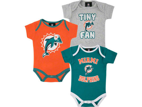 Miami Dolphins Outerstuff NFL Newborn 3pc Foldover Neck Creeper Set