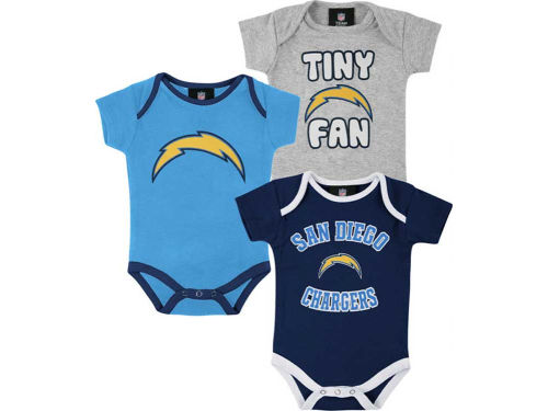 San Diego Chargers Outerstuff NFL Newborn 3pc Foldover Neck Creeper Set