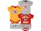 Kansas City Chiefs Outerstuff NFL Newborn 3pc Foldover Neck Creeper Set Infant Apparel