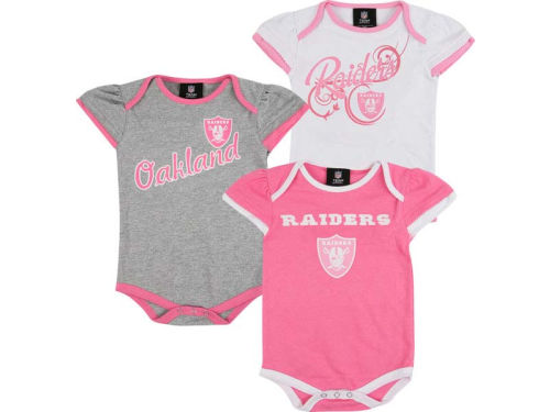 Oakland Raiders Outerstuff NFL Newborn 3pc Foldover Neck Creeper Set