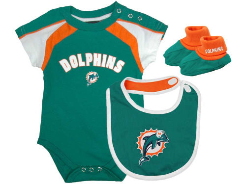 Miami Dolphins Outerstuff NFL Infant Creeper Bib & Bootie Set