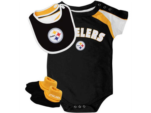 Pittsburgh Steelers Outerstuff NFL Infant Creeper Bib & Bootie Set